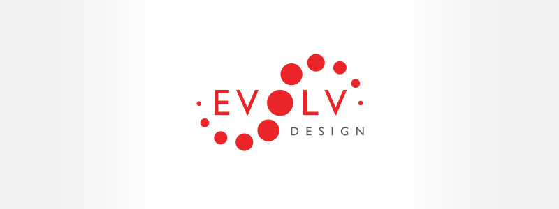 Evolve logo layout created for a Urbandaleindoor developer, style feature a collection of red circles that intersect as well as change the letter O in the middle of the logo design.