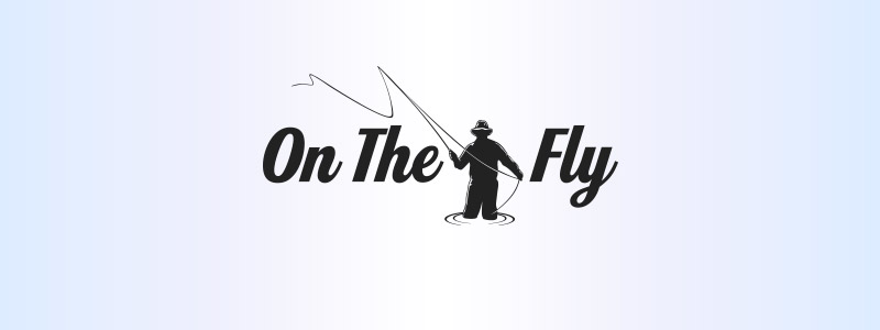 A Urbandale business logo style including a fisherman in the middle of the name casting a fly towards the customer.