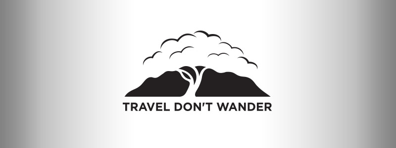 digital photography logo including a group of birds, a mountain, a route, a stream, as well as a tree - designed for Urbandale traveling professional photographer.