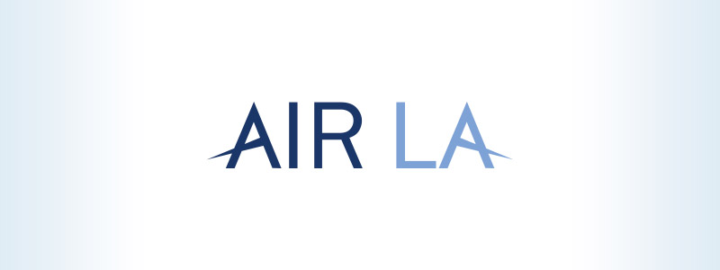Air LA logo design designed for an airline in Los Angeles, the logo design has two letter A's with benches modified to suggest they are wings.