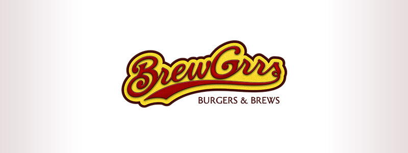 Logo design made for the use of an indication for the dining establishment (Brewgrrs), it is an elaborate script font that is evocative a renowned Urbandale sports group logo design.