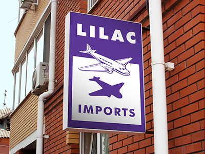 Lilac Imports - Seattle Sign Company - Internally illuminated double faced flag mounted cabinet sign